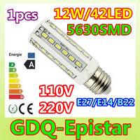 Free shipping 1pcs E27 E14 B22 12W LED Corn Light 42leds 5630SMD Bulb Lamp 110V/220V warranty 2 years Warm/Pure/Cool White