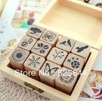 Freeshipping! 12pcs/set /arabesquitic  Wood stamp Set/DIY funny/Wooden Box