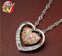925 sterling silver color silver necklace heart-shaped rose gold jewelry Valentine's Day creative gift girlfriend