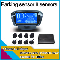 8 sensors car parking system,4 back sensors work while reversing,4 front sensors work while braking,buzzer alarm