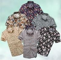 2014 Summer Men's cotton Short-sleeve casual shirt desigual beautiful flower shirts Plus size M - 3XL 4XL 5XL 6XL  Free shipping