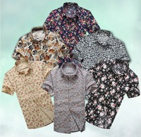 HOT SALE Summer Men's cotton Short-sleeve casual shirt floral beautiful flower shirts Plus size M L XL XXL 3XL 4XL 5XL 6XL TH23