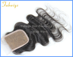 Cheap Virgin Brazillian Hair Lace Top Closure 4X4&quot; French Lace Closure Bleached Knots Body Wave Hair Pieces Wholesale 10&quot;-20&quot;(China (Mainland))