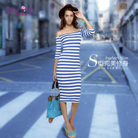 women clothing vestido de festa striped dress long blusas free shipping 2013 women dress beach blue saias femininas  6200