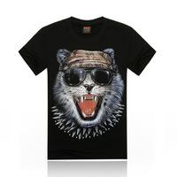 Free Shipping fashion tops summer 3D wolf print men T-shirts,o-neck t shirts men tees men's t shirt cotton men's T shirts,KT016