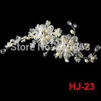 Free Shipping! Elegant Handmade Pearl Crystal Flower Rhinestone Bridal Hair Comb