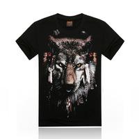 Free Shipping fashion tops summer 3D wolf print men T-shirts,o-neck t shirts men tees men's t shirt cotton men's T shirts,KT011