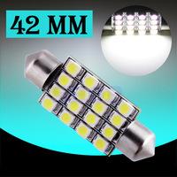 2pcs C5W LED 42mm 16 SMD Pure White Dome Festoon LED Car Light Bulb Auto Lamp Interior Lights styling car light source parking