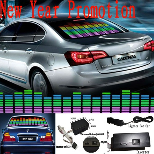 Sound Music Activated EL Sheet multi color Car Stickers Sound Equalizer 5 color Glow Flash Panel car Accessories Freeshipping(China (Mainland))