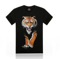 Free Shipping fashion tops summer 3D tiger print men T-shirts,o-neck t shirts men tees men's t shirt cotton men's T shirts,KT023