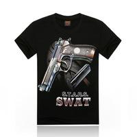 Free Shipping fashion tops summer 3D gun print men T-shirts,o-neck t shirts men tees men's t shirt cotton men's T shirts,KT053