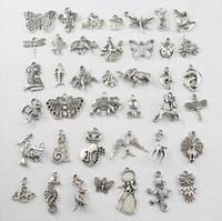 YBB 10mm-29mm Mixed Tibetan Silver Animals Charm Pendant Horse Butterfly Dragon etc F145-1
