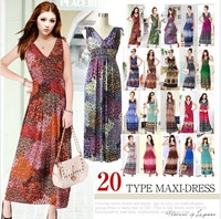 2014 new  Summer Printed Women's Dress Beach Bohemia ladies maxi long party Dresses 20 colors