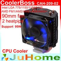 90mm fan, 2 heatpipe tower side-blown, CPU fan, CPU cooler, Intel LGA 775/1155/1156, AMD FM1/AM2/AM3/AM3+, CoolerBoss CAH-209-02