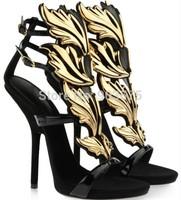 Women fashion heels shoes Alien Hinged Sandals gold-tone wings flutter up vamp fire gz suede platform Buckled ankle straps
