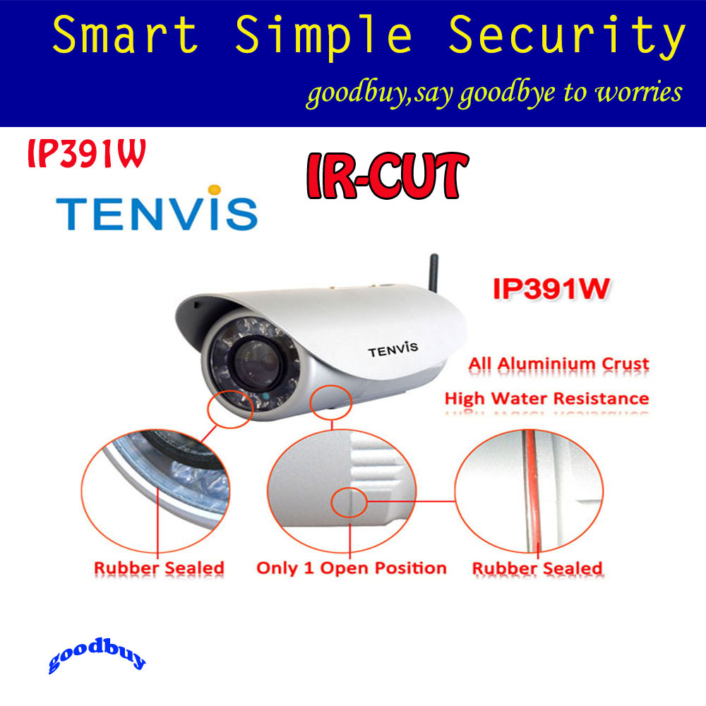 WiFi Outdoor Waterproof CCTV Security Surveillance IR Night Vision TENVIS IP391W Bullet Wireless/Wired Network IP Camera(China (Mainland))