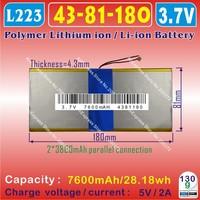 [L223] 3.7V,7600mAH,[4381180] PLIB (polymer lithium ion battery) Li-ion battery  for tablet pc,PIPO M9 pro 3g / max M9 quad core