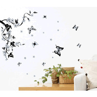 Free shipping, Flowers Butterfly Blossom Removable Wall Sticker Decal Art Home Decor Viny IQ0005 New Wholesale Drop Shipping