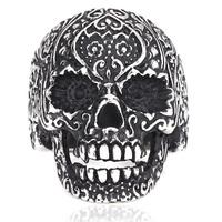US Size 7-13 Free Shipping Wholesale Men's Black Garden Flower Skull Ring Punk 316L STAINLESS Steel Jewelry FS BR8-071