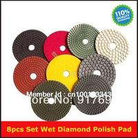 "New Free Shipping 8pcs wet diamond polish pad 4"" diameter and 2/3"" inner diameter for marble granite floor and stone"