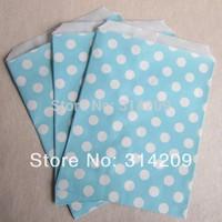 "Promotion! 5"" x 7"" - Blue Polka Dot Paper Popcorn Bags, Favor Paper Bag Wedding Decoration, Party Candy Cake Popcorn"