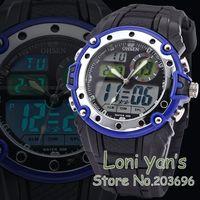 Fashion Dual Core Watch Men Sport Date Alarm Stopwatch Rubber Wristwatch Dive Watches Many Colors  Chrisrtmas Gift