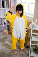 Tiger coral fleece one piece Kigurumi Pajamas cartoon sleepwears loungewear One Pyjamas Animal suits Cosplay Costume by0033