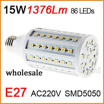 High quality led corn Bulb Lamp light 110V-220V 15W E27 1376LM 86 Warm White white Factory directsale wholesale