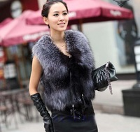 Low Low Low !!!2014 Autumn and Winter New Design Nature Genuine Real Silver Fox Fur Vest Gilet Outwear Womens With Fox Heads