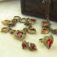 Hot-Selling Angel Heart Gem 4pieces Jewelry Set Women Personalized Accessories Vintage Jewelry Statement Jewelry Set Bijouterie