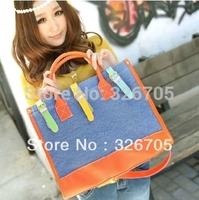 Ladies Medium Handbag, Fashion Contrast Color Canvas&PU Leather Clutch One Shoulder Cross Body  Cartoon Cute Casual Satchel Bag