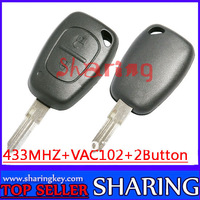 Free Shipping (20pcs/Lot) Renault Megana  Cilo  Scenic kango 2 Button Remote Key  Fob  VAC102  Blade 433MHZ With Pcf7946 chip