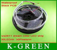 20m DMX Digital dream color built-in ws2811 LED Strip DC5V  30LED/m, 30Pixels/m waterproof IP67