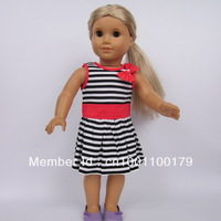 "Free shipping!! ONE-PIECE RED Black Strip Dress Outfit Costume Suit For 18"" American Girl Doll,girl birthday present AGC-038"