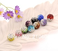 Factory Price!DRY Two Tone Shamballa Beads 10mm,Shamballa Disco Ball  Crystal Beads,Mix Colors,60pcs/lot