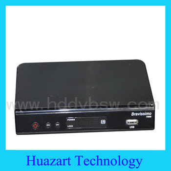 Free Shipping  Azbox Bravissimo Satellite Receiver HD twin tuner  has Free  SKS and IKS Support  Linux OS for Brazil