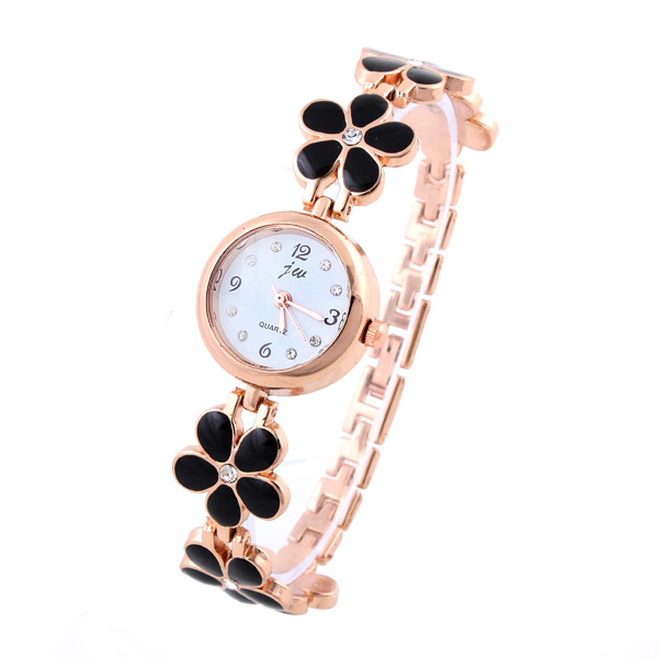 Petal Casual Watch for women Dress Watches Analog Rose gold Crystal hours ladies Quartz watches(China (Mainland))