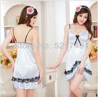 High quality 2013 hot sexy dress club wear plus size Blue nightgown spaghetti strap lace women silk shorts lounge free shipping
