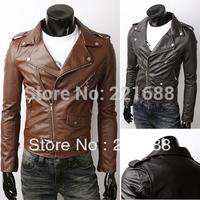 Free shipping 2015 men jackets fashion inclined zipper wide-lapel rivet belt short men, PU leather Size M-XXL