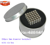 Free Shipping D5mm buckyball Diameter 216pcs Magnet Ball  Sphere Nickel Coating Neocube with Tin Box