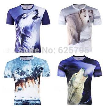 Free Shipping Fashion Snow Wolf 3D T-Shirt,B57, Funny Animal Creative Short Sleeve Slim T Shirt S-6XL,Plus Size