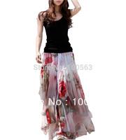 DR1748 Free Shipping Women Full Circle Big Hem Summer Elegant BoHO Lotus Leaf asymmetrical  Chiffon Maxi Long Skirt
