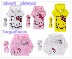 New arrival cute hello kitty children clothing short sleeve T-shirt +pants children's wear kids suit kids clothes free shipping(China (Mainland))