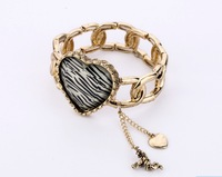 New Arrival Alloy Heart Elastic Bangle Wholesale Europe Vintage Women Bangle Free shipping