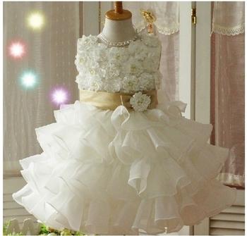 Girls Toddler 3D Flower Tutu Layered  Princess Party Bow Kids Formal Dress