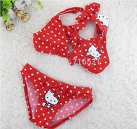 New arrive 5pcs/lot KITTY children cute Polka Dot  swimwear Lace skirt bikini Beautiful