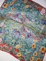 "100% Luxurious Satin Charmeuse Silk Gustav Klimt's ""Farm Garden with Sunflowers"" Big 34"" Square Scarf Shawl Hijab Fashion Scarfs"