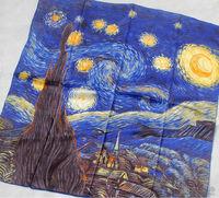 "100% Luxurious 12-momme Satin Charmeuse Silk Van Gogh's ""Starry Night"" 1889 34"" Square Scarf Shawl Hijab Fashion Scarves Blues"