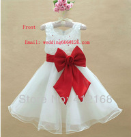 7 ColorsRetail new fashion 2013 back front bow flower girl dress princess children's dresses  kids wedding 001Freeshipping