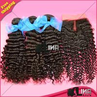 Grade 6A 4pcs/Lot Brazilian Virgin Hair afro Kinky Curly Bundles and Closure Unprocessed Human Virgin Hair Extension Weave